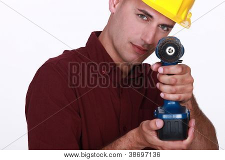Carpenter using cordless