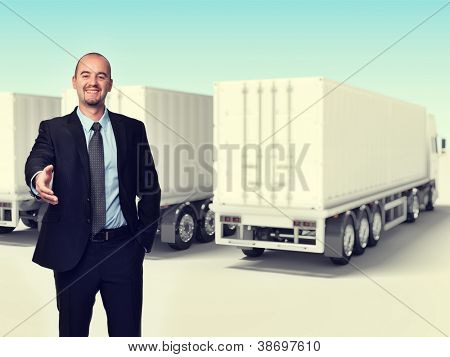 smiling man and 3d truck background