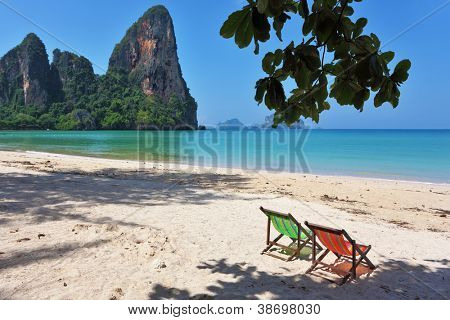 Beach, lounges, sea, sky ... Island in the Gulf of Thailand, the tourist season