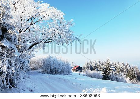 Winter morning in the mountains. Snow-covered road and a small country house in the distance
