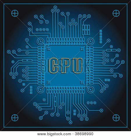 Circuit board with Central processing unit. Vector format EPS 8, CMYK.