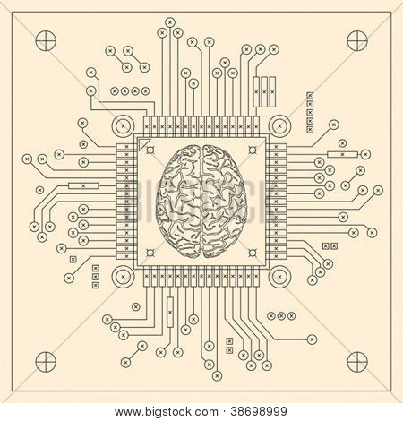 CPU - computer brain. Vector format EPS 8, CMYK.