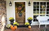 picture of entryway  - An entryway decorated for fall and Halloween - JPG