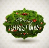 "stock photo of holly  - ""Merry Christmas"", Creative label. Vector Illustration. - JPG"