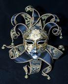 stock photo of mardi gras mask  - Full view Venetian mask on black background - JPG