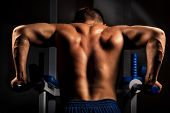 stock photo of lats  - Muscular back of young bodybuilder training in dark background - JPG