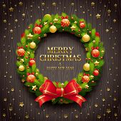 Vector illustration - Christmas coniferous wreath on a wooden background