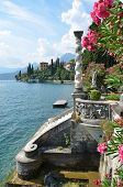 stock photo of villa  - View to the lake Como from villa Monastero - JPG