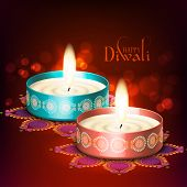 stock photo of kolam  - Diwali Oil Lamp - JPG