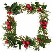 pic of mistletoe  - Christmas decorative border of holly - JPG