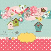 picture of bird egg  - Beautiful Spring background with bird houses - JPG