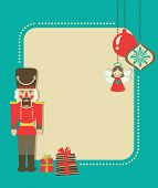 stock photo of nutcracker  - Christmas vintage greeting card with nutcracker and gift boxes - JPG
