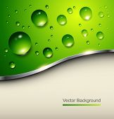 Abstract background with water drops on green, vector.