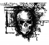 stock photo of rogue  - Vector scary Halloween grunge skull with bricks - JPG