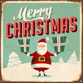 Vintage Metal Sign - Merry Christmas - Vector EPS10. Grunge effects can be easily removed for a bran