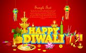 pic of kalash  - illustration of decorated diwali diya with gift box and sweet - JPG