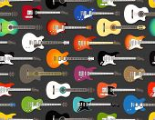 stock photo of stratocaster  - Seamless background of color acoustic and electric guitars - JPG