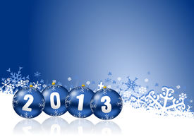 image of happy new year 2013  - 2013 new years illustration with christmas balls - JPG