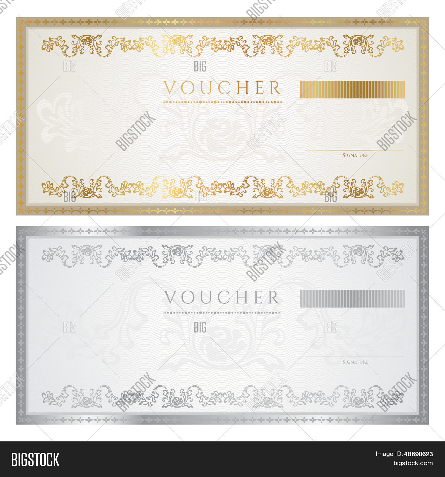 Gift voucher certificate coupon template banknote for Cheque voucher template