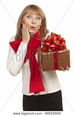 woman holding giving a gift