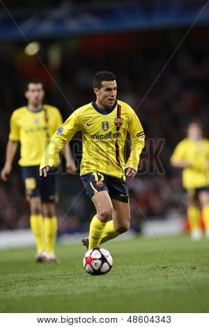 LONDON, ENGLAND. 31/03/2010. Barcelona player Pedro Rodreguez in action during the  UEFA Champions League quarter-final between Arsenal and Barcelona at the Emirates Stadium