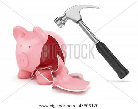 Hammer And Broken Piggybank