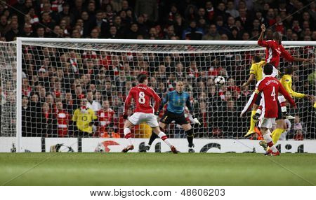 LONDON, ENGLAND. 31/03/2010. Arsenal attack the Barcelona goal during the first half of the  UEFA Champions League quarter-final between Arsenal and Barcelona at the Emirates Stadium