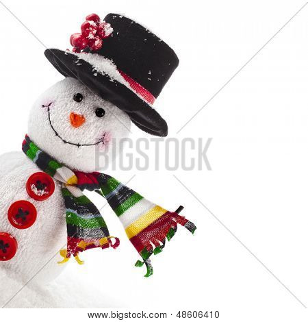 Cheerful Christmas snowman with scarf, Border Card with copy space,  isolated on white background