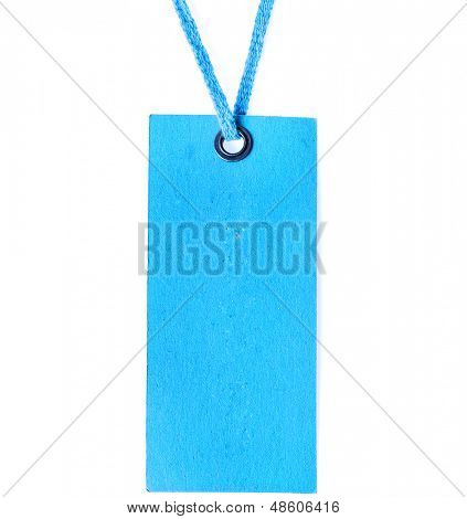 Blue blank price label tag surface with metallic grommet isolated on white background