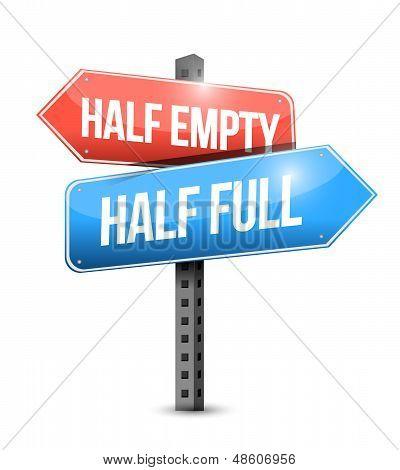 Half Full, Half Empty Road Sign Illustration