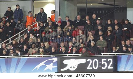 LONDON, ENGLAND. 31/03/2010. The arsenal directors box during the  UEFA Champions League quarter-final between Arsenal and Barcelona at the Emirates Stadium