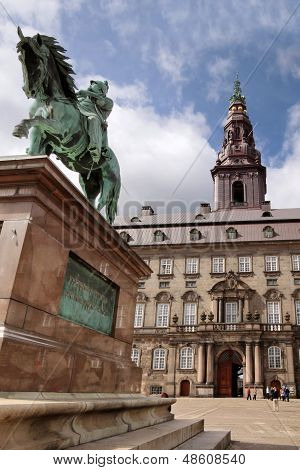 Christiansborg Castle With Equestrian Statue