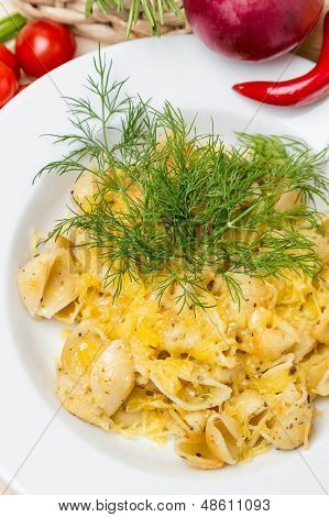 Hot Pasta With Garnish On Plate