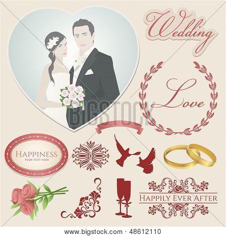 Conjunto de vetores: ícones do casamento (símbolos). Decoração para festa