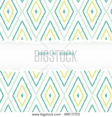 Green ikat diamonds torn frame seamless patterns backgrounds