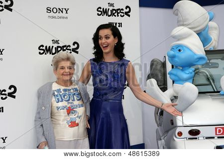 "LOS ANGELES - JUL 28:  Katy Perry, grandma arrives at the ""Smurfs 2"" Premiere at the Village Theater on July 28, 2013 in Westwood, CA"