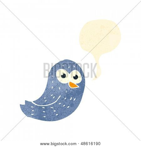 retro cartoon bird tweeting