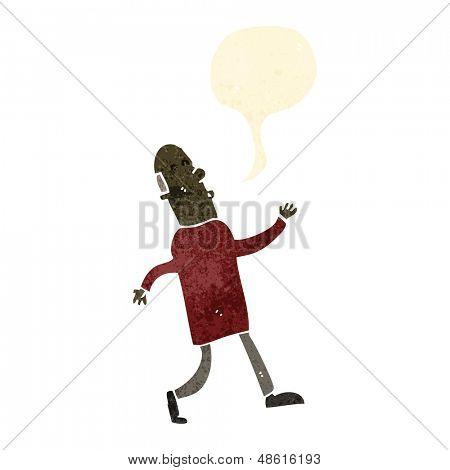 retro cartoon strutting old man