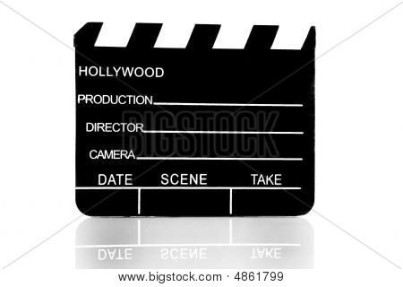 Movie Clapboard Used By Movie Directors Over White Background