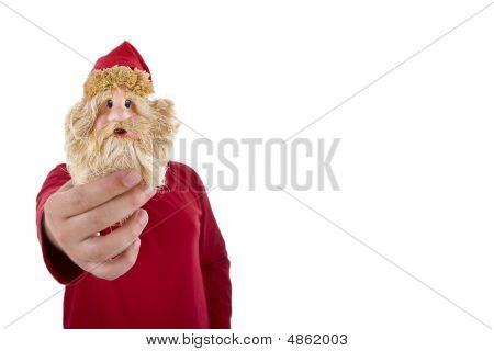 Man In Red Shirt Holding A Santa Claus Toy In Front Of His Face