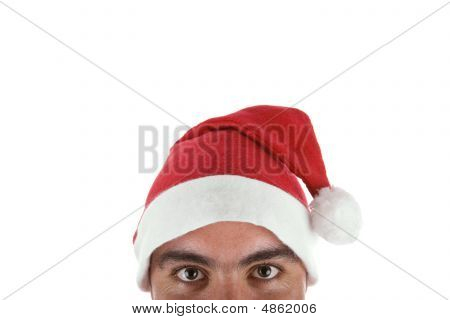 Man Wearing A Santa Claus Hat