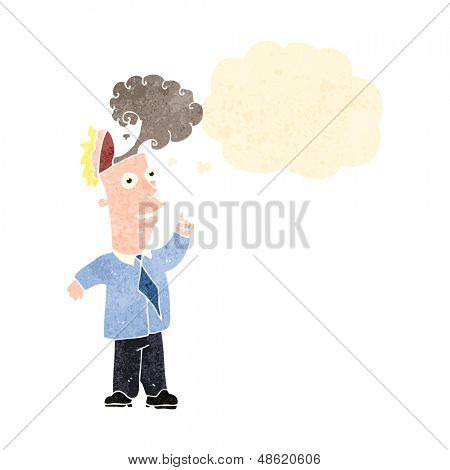 retro cartoon man with overheated brain