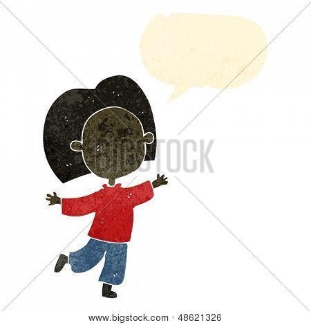 retro cartoon prancing boy
