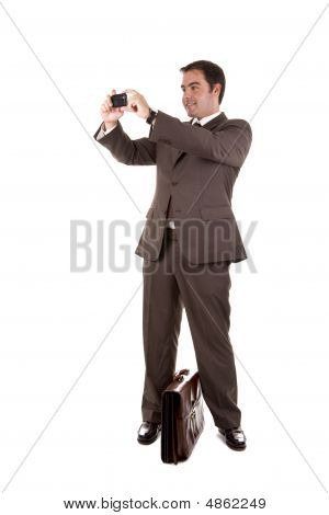 Business Man Taking A Photo With His Camera Phone