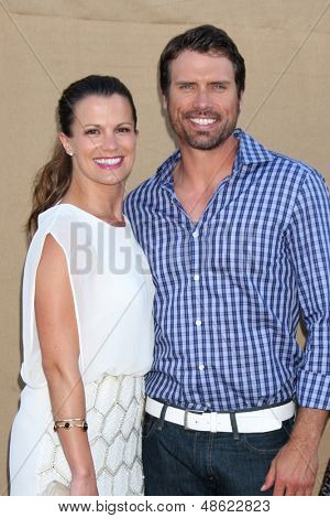 LOS ANGELES - JUL 29:  Melissa Claire Egan, Joshua Morrow arrives at the 2013 CBS TCA Summer Party at the private location on July 29, 2013 in Beverly Hills, CA