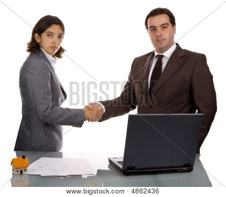 Two Friendly Business Partners Shaking Hands