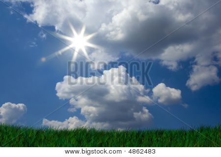 Fresh Green Grass On Bright Blue Sunny Sky Background