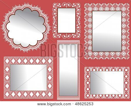 Wall of Mirrors  - with ornate frames (full background patters behind mirrors)