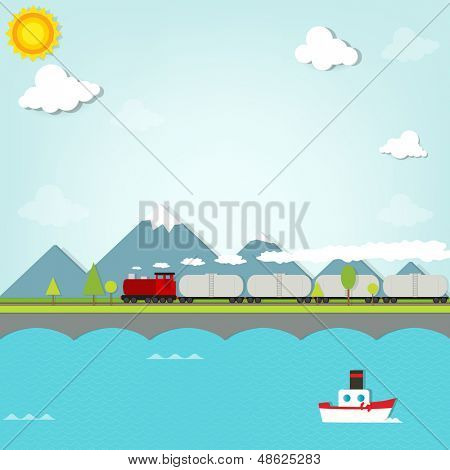 train on a background of mountains