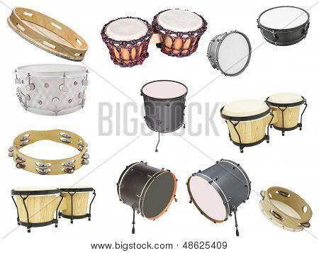Diferentes tipos de instrumentos de percusión, aislados bajo el fondo blanco